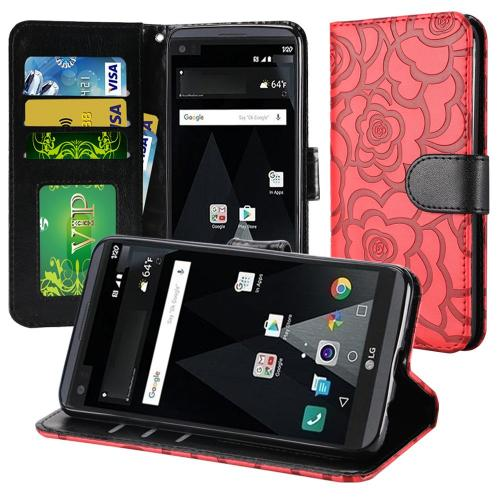 LG Aristo/ Fortune Case, Luxury Faux Leather Textured Rose Design Front Flip Cover Diary Wallet Case w/ Magnetic Flap [Red/ Black]