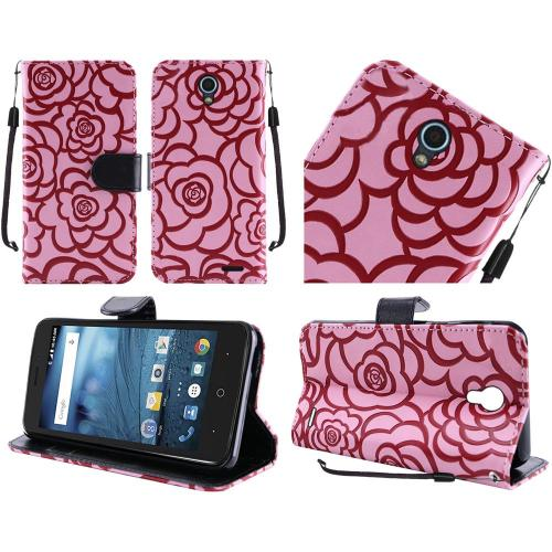 ZTE Avid Trio Case, Luxury Faux Leather Textured Rose Design Front Flip Cover Diary Wallet Case w/ Magnetic Flap [Baby Pink/ Black]