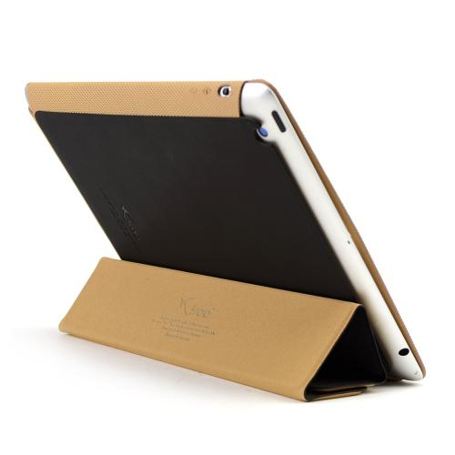 Made for Apple iPad 2/3/4 Black/ Brown iRoo LS-Series Faux Leather Slide-In Case w/ Smart Cover by Iroo