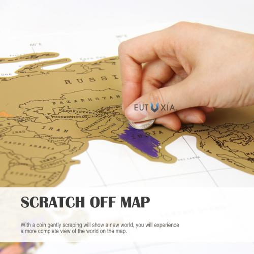Eutuxia Travel Scratch World Map (34x20 inch) - Track Places Where You've Been To! [2 PK]