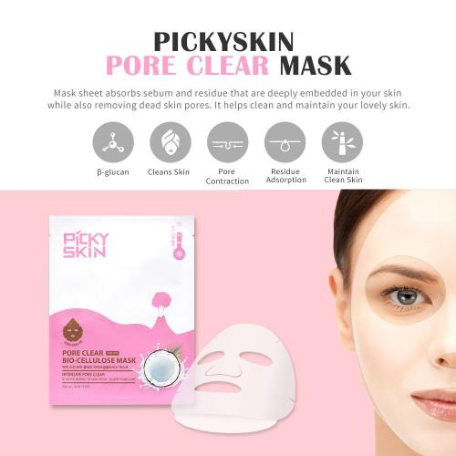 PICKYSKIN Pore Clear Bio-Cellulose Facial Mask Sheet for All Skin Types. Intensive Exfoliating Face Care with Nutritions & Natural Coconut Juice. Moisturizing, Refreshing, and Deep Pore Care. [5 Pack]