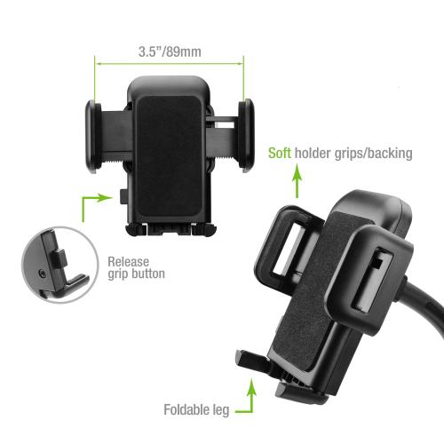 Universal Windshield Dashboard Car Mount for Smartphones up to 3.5-Inch Wide [Black]