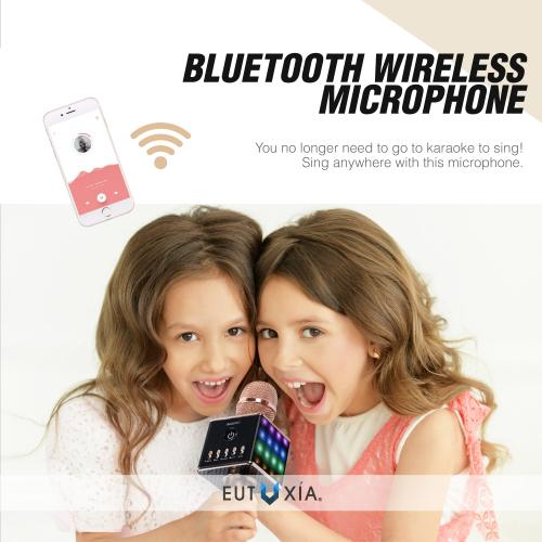 Eutuxia Wireless Karaoke Microphone + Smartphone Holder. Portable Entertainment System with Built-in Bluetooth Speakers, LED Lights, and Mic. Handheld Machine, Android & iOS Compatible. [Rose Gold]