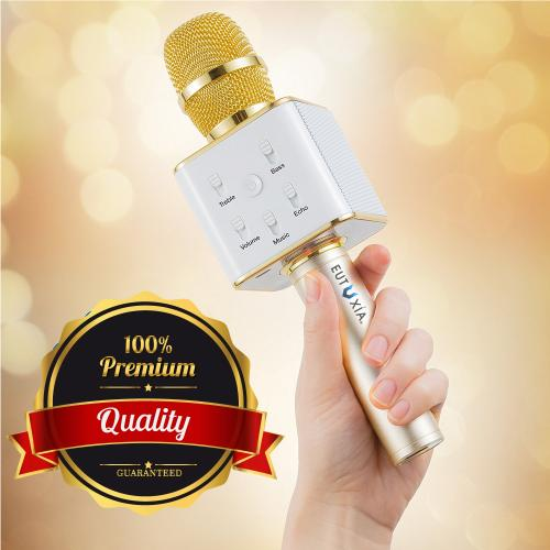 [REDshield] Wireless Karaoke Microphone, Portable 3-in-1 Handled Multi-function Bluetooth Microphone and Built-in Speaker for Cellphone, PC and Smart Devices [Gold]