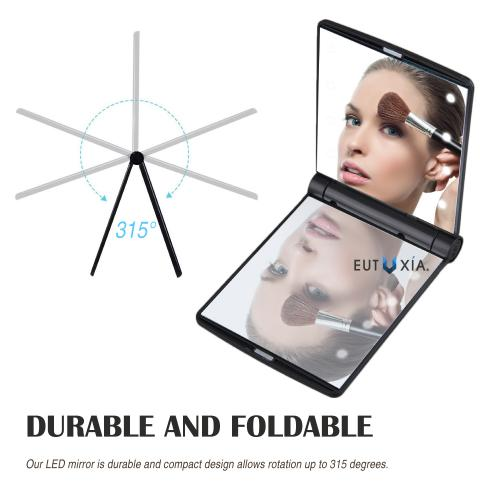 Eutuxia Lighted Makeup Vanity Mirror with Built-In 8 LED Lights. Compact and Portable Travel Size. Foldable with Magnetic Bar. Illuminate Darkness and Use Cosmetic or Check Your Hairstyle Anywhere.