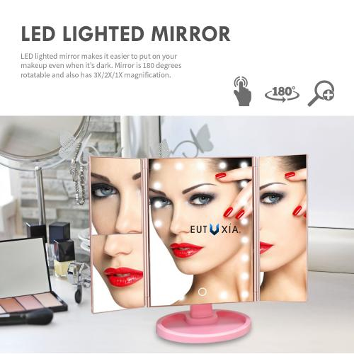 Eutuxia Makeup Vanity Mirror with 22 LED Lights, 3X/2X Magnification, Touch Screen, Dual Power Supply, 180 Rotation & Brightness Adjustable. Increase Accuracy with Countertop Cosmetic Stand.