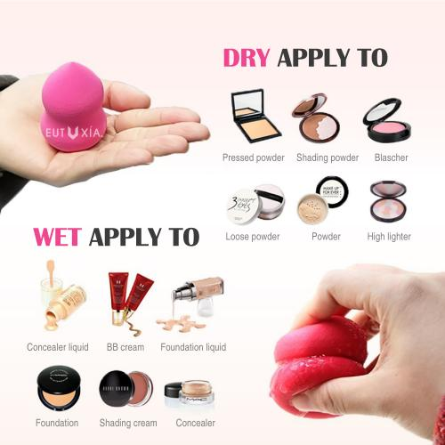 Eutuxia Makeup Sponge Blender for Flawless Coverage of Liquid, Concealer, Cream, Powder, and Foundation Application. Multicolor 3 Piece Cosmetic Blending Applicator. Latex Free Hypoallergenic Foam.
