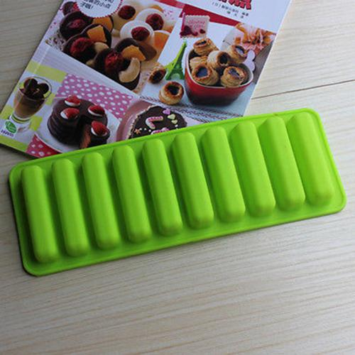 [Silicone Mold] Ice Cube Tray w/ Easy Push Pop Out - Narrow Ice Stick Cubes for Sport and Water Bottles [Green]