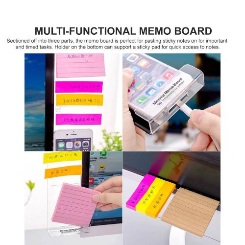 Eutuxia Monitor Memo Board with White Pen Holder, Acrylic Multifunction Computer Board for Memo Pad Phone Holder Clip for Sticky Notes [Left and Right Set + 3 Pen Holder PK]