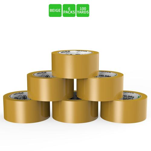 Moving / Storage Tape, 6 Rolls of Commercial Grade [M Tape- BEIGE] Value Bundle for Heavy Duty Packaging [1.9 Inches x 100 Yards]