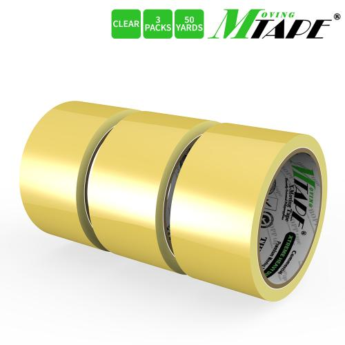 Moving / Storage Tape, 3 Rolls of Commercial Grade [M Tape- CLEAR] Value Bundle for Heavy Duty Packaging [1.9 Inches x 50 Yards]
