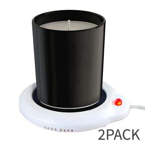 Eutuxia Candle Warmer for Home & Office. Great for Warming Up Cups, Coffee Mugs & Beverages on Desks, Tables, Countertops. Electric Heated Plate Warms Quickly. Enjoy Hot Drinks on Cold Days. [2 PK]