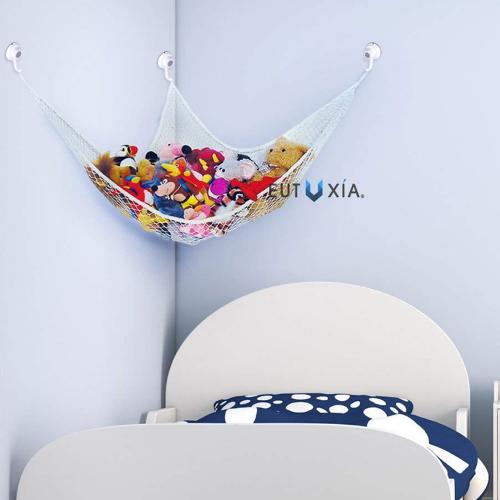 Eutuxia Toy Storage Hammock + Hooks Bundle. Large Organizer for Stuffed Animals, Balls, Toys, Etc. Great Way to Organize Kids & Children's Rooms, Bathrooms. Secure Mesh Net with Strong Adhesive Hooks.