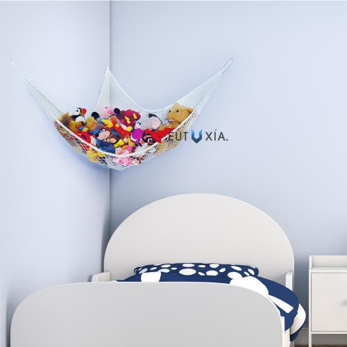 Eutuxia Toy Storage Hammock, Large Organizer for Stuffed Animals, Balls, Plush Toys, Etc. Stylish & Effective Way to Organize Kids and Children's Rooms. Secure with 3 Metal Hooks and Durable Mesh Net.