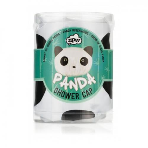 NPW Panda Shower Cap. Keep Your Hair as Pretty as a Panda. A Friendly Panda Face in White and Black & Complete with Black Ears.