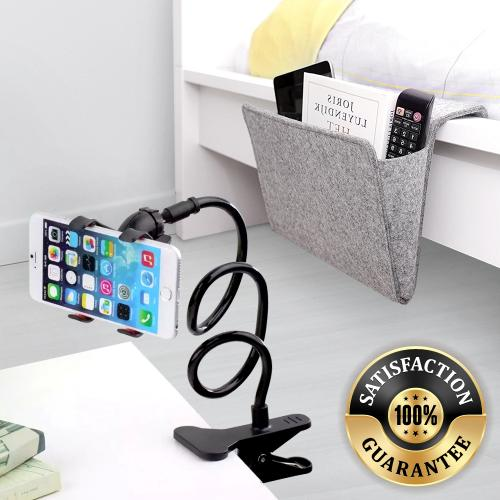 RED SHIELD Comfy Bundle. Kikkerland Bedside Pocket Caddy [Gray] & Flexible Phone Holder Mount [Black]. Be Comfortable. Great for Relaxing, Being Lazy on Bed. Organizer for Phones, Remotes, Books, Etc.