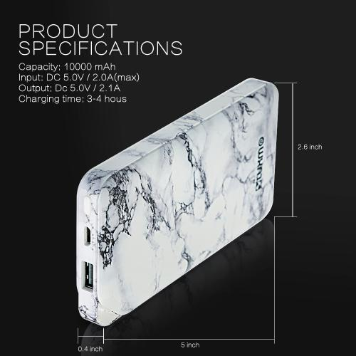 Powerbank, [White Marble Design] Universal 10,000mAh Lithium-Polymer Power Bank Portable Charger w/ 3-in-1 Cable [ Micro-USB, & Type-C] - Fast Charge & Recharge, 2.0A Input & 2.1A Output!
