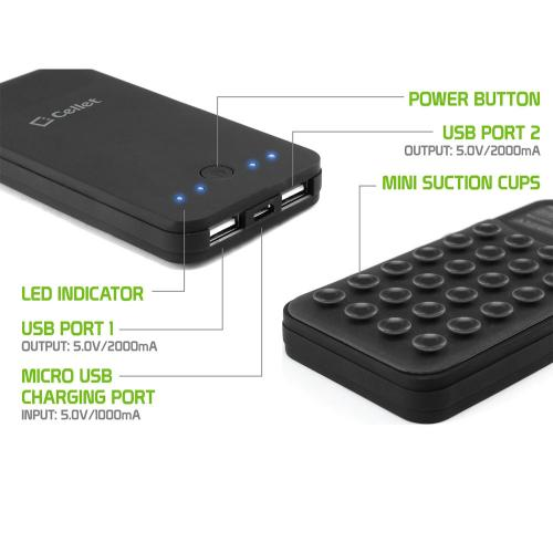 Power Bank Portable Charger, 2 USB Ports [4000mAh] Portable Battery Pack w/ Mini Suction Cups [Black]