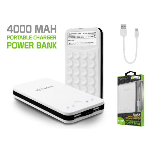 Power Bank Portable Charger, 2 USB Ports [4000mAh] Portable Battery Pack w/ Mini Suction Cups [White]