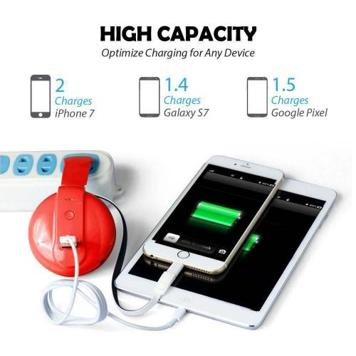 All-In-One 4200mAh Pocket Size Portable Power Bank Battery Charger w/ Built-in Micro USB/ Lightning Adapter/ AC Plug/ USB Port [Red/ White]