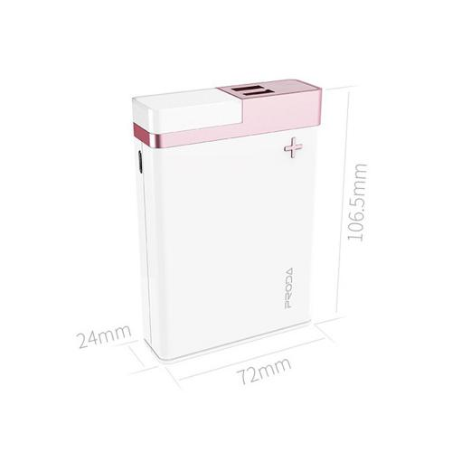 [Proda] CRAVE [12000 mAh] Power Bank Portable Charger, Dual USB Power Bank w/ LED Light [White/ Rose Gold]