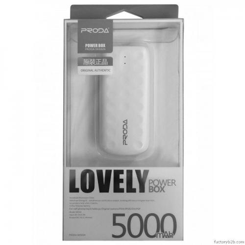 [Proda] Lovely [5000 mAh] Power Bank Portable Charger, USB 1.5A Output Power Bank w/ LED Light [White]
