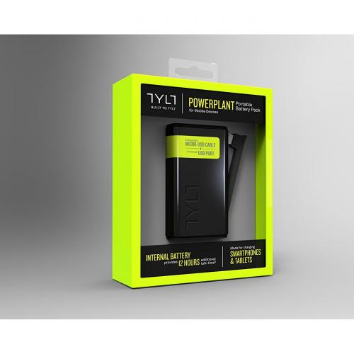 [TYLT] POWERPLANT [5200 mAh] Power Bank Portable Charger, Battery Backup w/ 30-Pin Charging Arm & USB Port [Black]