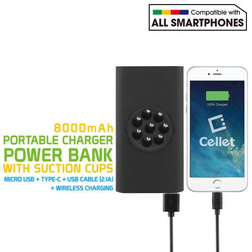 Power Bank Portable Charger, 4-in-1 Micro USB, Type-C, 2.0 USB, & Wireless Charging [8000mAh] Compact External Battery Pack Charger [Black]