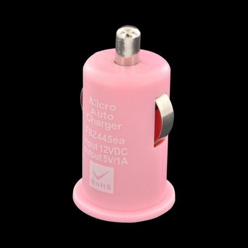 USB Miniature Colored Car Charger Adapter (1000 mAh) - Baby Pink