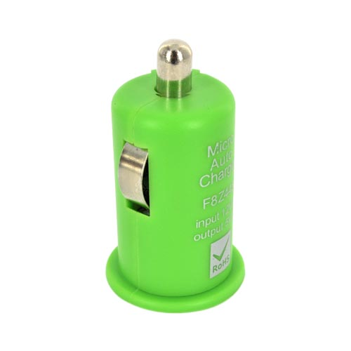 USB Miniature Colored Car Charger Adapter (1000 mAh) - Green