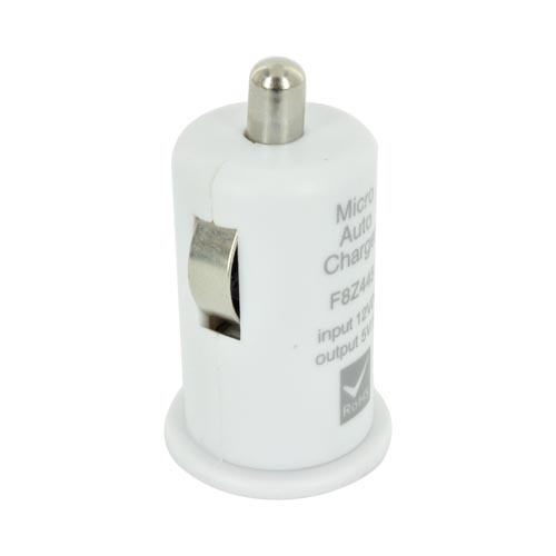 USB Miniature Colored Car Charger Adapter (1000 mAh) - White