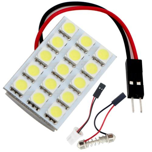 PCB 15 LED Bulb SMD-5050 LED Dome Light Panel [White] - Light up w/ Any 12V Power Source Including Any Power From Boat, Car, Motorcycle