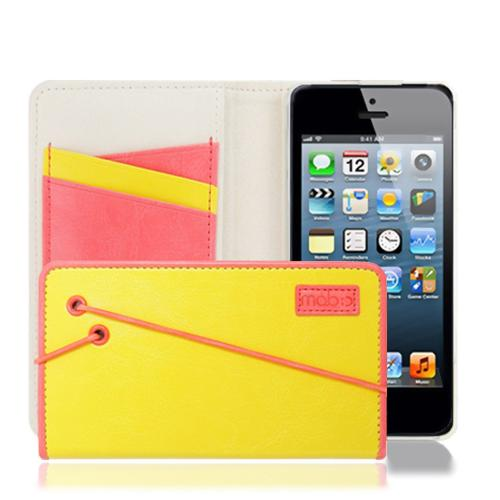 Made for Apple iPhone SE / 5 / 5S  Case, MobC [Yellow/Melon Pink] Bandingbook Series Featuring Faux Leather with Elastic Closure w/ Free Screen Protector by Mobc