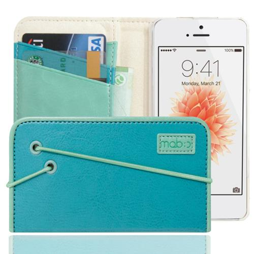 Made for Apple iPhone SE/5/5S Case, MobC [Turquoise/Mint] Bandingbook Series Featuring Faux Leather with Elastic Closure w/ Free Screen Protector by Redshield