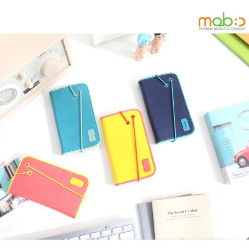 Galaxy S3 Wallet Case by Mobc [Navy/Turquoise] Bandingbook Series Featuring Faux Leather with Elastic Closure & Free Screen Protector