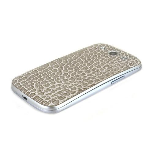 Gray Glossy Alligator Samsung Galaxy S3 Leather Textured Battery Door Case