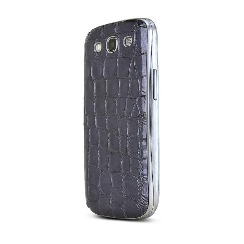 Purple Glossy Alligator Samsung Galaxy S3 Leather Textured Battery Door Case