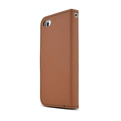 Made for Apple iPhone SE / 5 / 5S Wallet Case, [Brown/ Black]  Kickstand Feature Luxury Faux Saffiano Leather Front Flip Cover with Built-in Card Slots, Magnetic Flap by Redshield