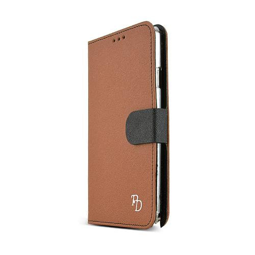 RS Brown/ Black Faux Leather Diary Flip Hard Case w/ ID Slots, Wrist Strap, & Magnetic Closure for Samsung Galaxy Note 3