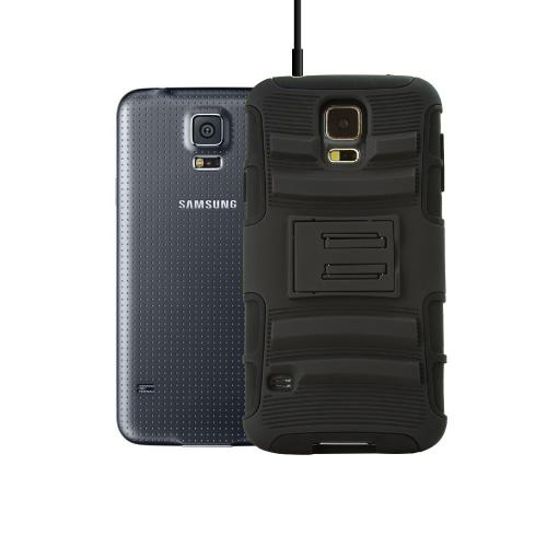 Black Hard Case w/ Kickstand on Black Silicone Skin Case w/ Holster for Samsung Galaxy S5
