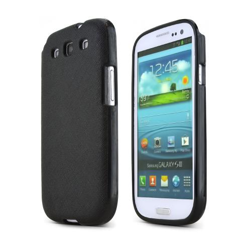REDShield Black Samsung Galaxy S3 Case Cover; [Anti-Slip] Soft Silicone TPU Gel Material w/Coolest Fashion faux leather Textured Back