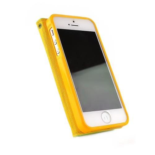 Apple iPhone SE / 5 / 5S Wallet Case,  [Lime Green/Yellow]  Kickstand Feature Luxury Faux Saffiano Leather Front Flip Cover with Built-in Card Slots, Magnetic Flap