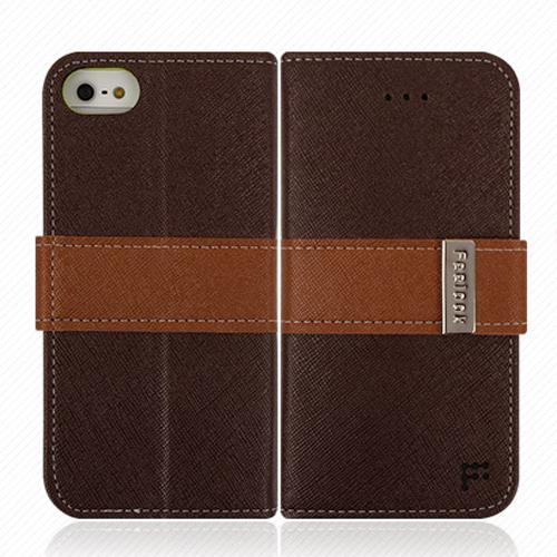 Made for Apple iPhone SE / 5 / 5S Wallet Case, Feelook [Dark Brown/Lime Green]  Kickstand Feature Luxury Faux Saffiano Leather Front Flip Cover with Built-in Card Slots, Magnetic Flap by Redshield