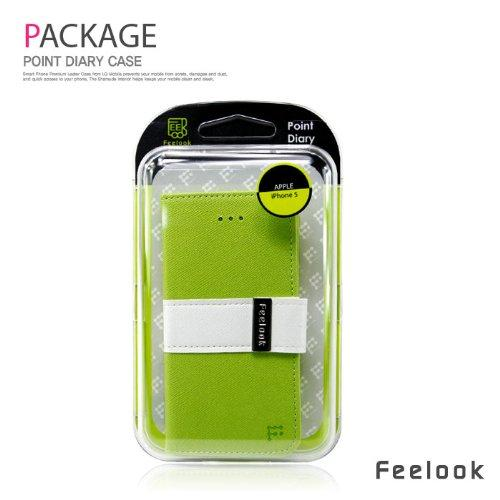 Made for Apple iPhone SE / 5 / 5S Wallet Case, Feelook [Lime Green/White]  Kickstand Feature Luxury Faux Saffiano Leather Front Flip Cover with Built-in Card Slots, Magnetic Flap by Redshield