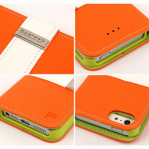 Made for Apple iPhone SE / 5 / 5S Wallet Case, Feelook [Orange/Lime Green]  Kickstand Feature Luxury Faux Saffiano Leather Front Flip Cover with Built-in Card Slots, Magnetic Flap by Redshield