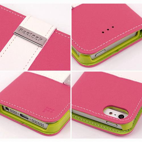 Made for Apple iPhone SE / 5 / 5S Wallet Case, Feelook [Hot Pink/Lime Green]  Kickstand Feature Luxury Faux Saffiano Leather Front Flip Cover with Built-in Card Slots, Magnetic Flap by Redshield
