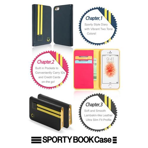 Apple iPhone SE/5/5S  Wallet Case, MobC [Black/Yellow]  Kickstand Feature Luxury Faux Saffiano Leather Front Flip Cover with Built-in Card Slots, Magnetic Flap w/ Free Screen Protector