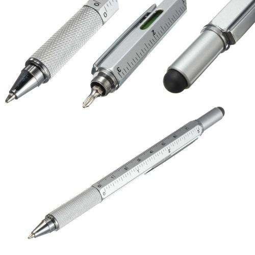 RED SHIELD 6-in-1 Multitool Twist Retractable Ballpoint Pen, Ruler (In. & Cm.), Spirit Level, Touch Screen Stylus, Phillips & Flat Head Screwdriver. Mini Multifunction Tech Tool Kit. [Silver]
