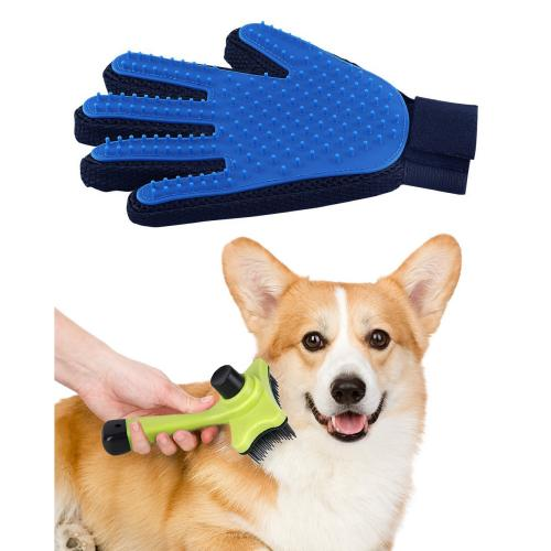 Eutuxia Pet Grooming Tools, Brush or Glove. Hair Remover for Dogs, Cats, Horses, Etc. Effective & Efficient Deshedding Tool While Massaging & Petting. Works with Long or Short Fur.