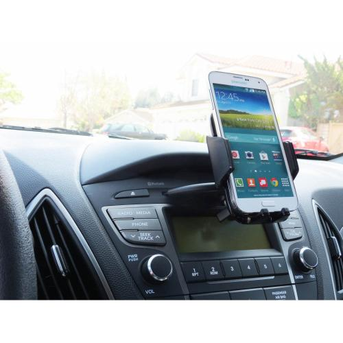 CD Slot Phone Mount, [Black] Phone Holder Mount w/ 360 Degree Rotating Capability for Smartphones (Up to 3.5 Inches Wide)